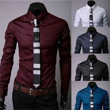 New Boutique Korean Mens Obscure Twill Long Sleeve Slim Fit Casual Shirts 5912 [9305973127]