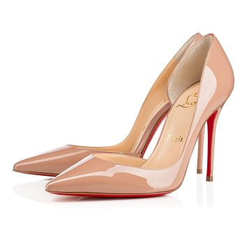 Best Online Sale Christian Louboutin Cl Iriza Nude Patent Leather 100mm Stiletto Heel Classic