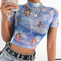 Summer Trending Women Sexy Angel Print Short Sleeve Mesh Crop Top T-Shirt Blue