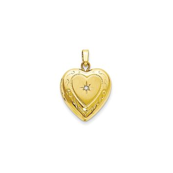 14KT Yellow Gold Polished 13mm Heart Locket Charm