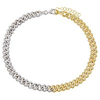 Pavé Two Tone Chain Link Anklet