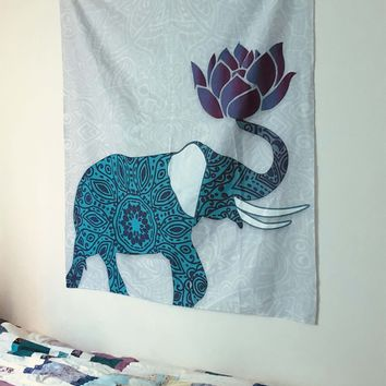 Reiki Charged Purple Blue Elephant Tapestry Wall Hanging Indian With Lotus Flower