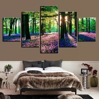 Canvas HD Prints Paintings Framework Trees Pictures Living Room Decor 5 Pieces Forest Purple Lavender Flowers Posters Wall Art