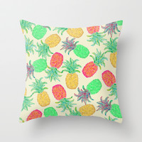 Pineapple Pandemonium (multicolor) Throw Pillow by Lisa Argyropoulos