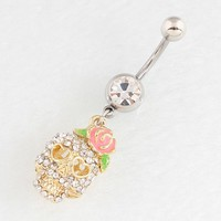 Navel bar golden plated Skull Skeleton belly button ring fashion body piercing jewelry 14G 316L surgical steel bar Nickel-free