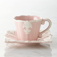 Four Pink Square Baroque Cups & Saucers - Neiman Marcus