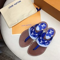 Louis Vuitton LV Hot Sale Women's Colorblock Printed Letters Casual Flip-Flop Sandals Shoes Blue