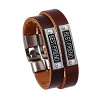 Simple Alloy BESTFRIEND Leather Bracelet