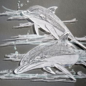 Engraved glass Dolphins playing (framed)