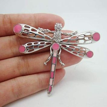 Unique Lovely Dragonfly Animal Decorated Brooch Pin Pink Rhinestone Crystal