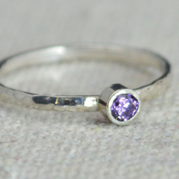 Classic Sterling Silver CZ Amethyst Ring