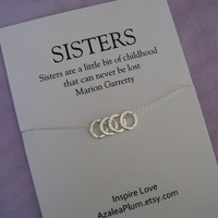 4 SISTERS Necklace. FOUR Sisters Sterling Silver. SISTER Necklace. Sister Gift. Bridal Party.  Maid of honor Sister. Sisters Necklace
