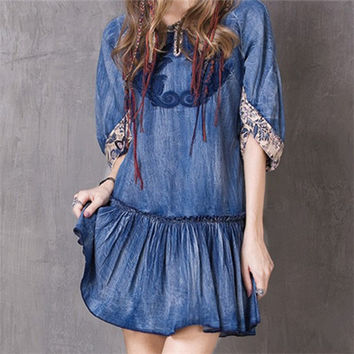 2017 Women's New Summer Floral Printed Ethnic Embroidery Tunic Denim Dress Half Sleeve Vintage Casual Loose Dress