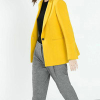 Yellow Notched Button Blazer With Pocket