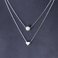 925 Sterling Silver Pearl Love Heart Multi-Layer Choker Necklace Fashion Double Layer Pendants & Necklaces Jewelry AN063