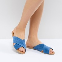 Pieces Cross Over Flat Mule at asos.com