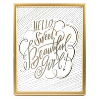 Hello Sweet Beautiful Girl Framed Wall Art | Shop Hobby Lobby