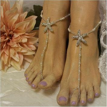 STARFISH barefoot sandals wedding - rose gold