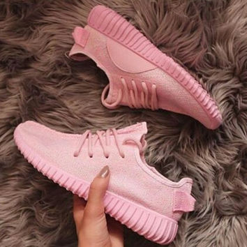 "Fashion ""Adidas"" Yeezy Boost Solid color Leisure Sports shoes Pink"
