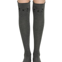 LOVEsick Grey Kitty Over-The-Knee Socks