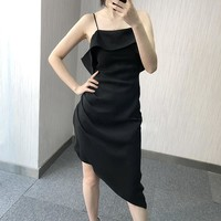 High cold white thin shoulder strap sexy irregular strap dress female tight inside the bag hip skirt