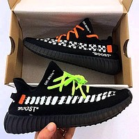 ADIDAS x Off White Yeezy Boost 350 V2 Fashion Woman Men Running Sport Sneakers Shoes Black