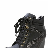 Bamboo Jodie-01 Black Lace Up Glitter High Top Wedge Sneakers and Shop Shoes at MakeMeChic.com
