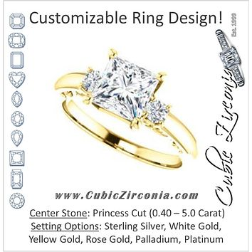 Cubic Zirconia Engagement Ring- The Danika (Customizable Princess Cut 3-stone featuring Heart-Motif Band Enhancement)