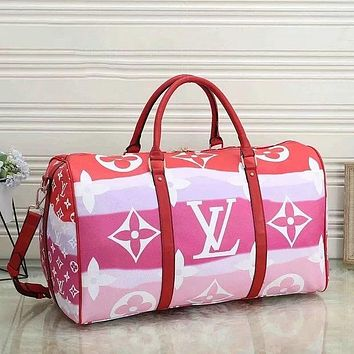 LV Louis Vuitton large-capacity luggage bag travel bag color printing