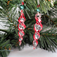 Novelty Holiday Earrings Unique Lampwork Icicle Earrings Christmas Jewelry Women's Gift for Her Stocking Stuffer