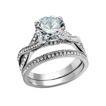Only You - Crystal Detailed Stainless Steel Round CZ Stone Stackable Ring