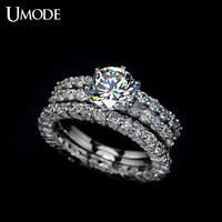 1.75 Carat Set of 3 Cubic Zirconia Engagement Rings CZ Engagement Rings set Round Cut Diamond Ring Silver Ring Solitaire Ring Wedding Ring