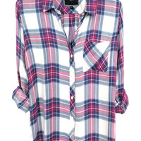 Rails Hunter buttondown in white/fuschia