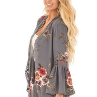 Floral Gray Irregular Cardigans with Lace Trim and Details