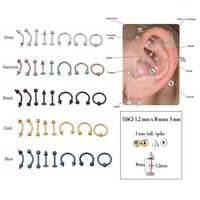 Sellsets Mixed 8pcs/lot 16G Titanium Anodized Stainless Steel Body Jewelry Helix Piercing Ear Eyebrow Nose Lip Captive Rings