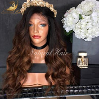 8A Wavy Ombre Human Hair Wigs Blonde Two Tone Deep Wave Full Lace Wigs Unprocessed Glueless Lace Front Human Hair Wigs