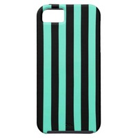 Mint Green And Vertical Black Stripes Patterns iPhone 5 Covers from Zazzle.com