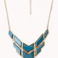 FOREVER 21 Angular Faux Stone Necklace Teal/Gold One