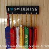 I Love Swimming Ribbon & Medal Hanger - Wood Rack - Customization/Personalization Available
