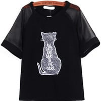Animal Embroidered Black Top with Sheer Sleeve