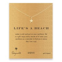 life's a beach starfish necklace, gold dipped