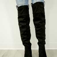 All The Way Up Black Suede Over The Knee Boot
