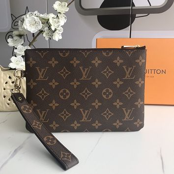 lv louis vuitton woman men envelope clutch bag leather file bag tote handbag