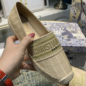 Christian Dior Embroidered Jacquard Pattern Ladies Casual Lazy Shoes Casual Shoes Khaki