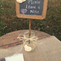 Shabby Chic and Rustic Chalkboard Sign in Mason Jar - Rustic Wedding Decor - Chalkboard Photo Prop