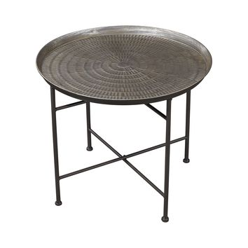 3200-009 Embossed Pewter Accent Table