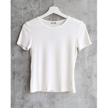 Free People Baby Rib Knit Tee in White