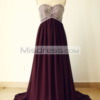Strapless Sweetheart Wine Red Beaded Chiffon Long Prom Dress
