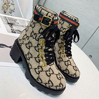GUCCI New Plush Embroidered Letters Ladies High-Top Boots Shoes Khaki