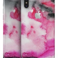 Pink and Black Absorbed Watercolor Texture - iPhone X Skin-Kit